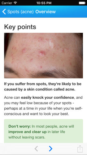 Screenshot student health app 'acne overview'