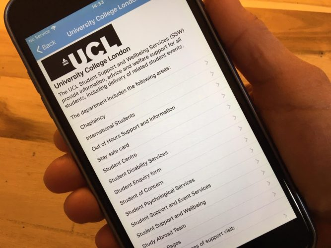 Customised page for UCL on the Student Health App