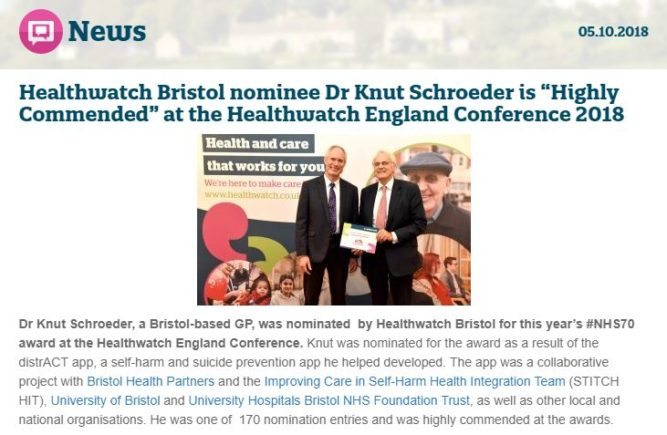 Healthwatch news article screenshot