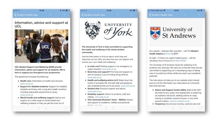 Student Health App customisation