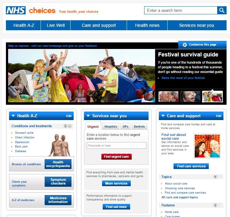 NHS Choices website screenshot